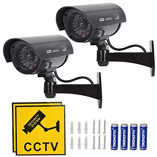 Schwarz – TIMESETL 2 Stück Attrappe Kamera CCTV Dummy